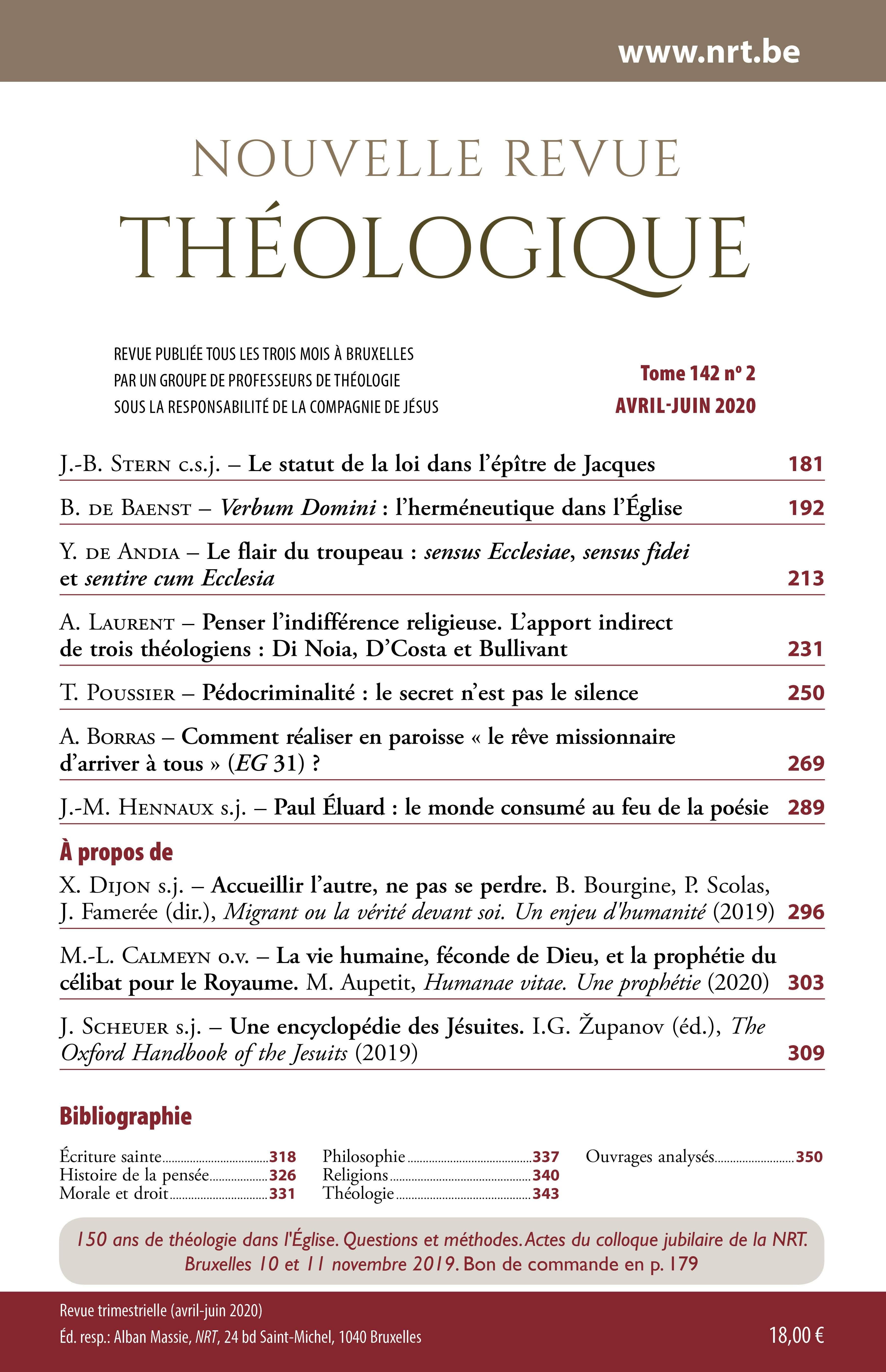 Image infolettre - Nouvelle Revue Théologique - nrt.be